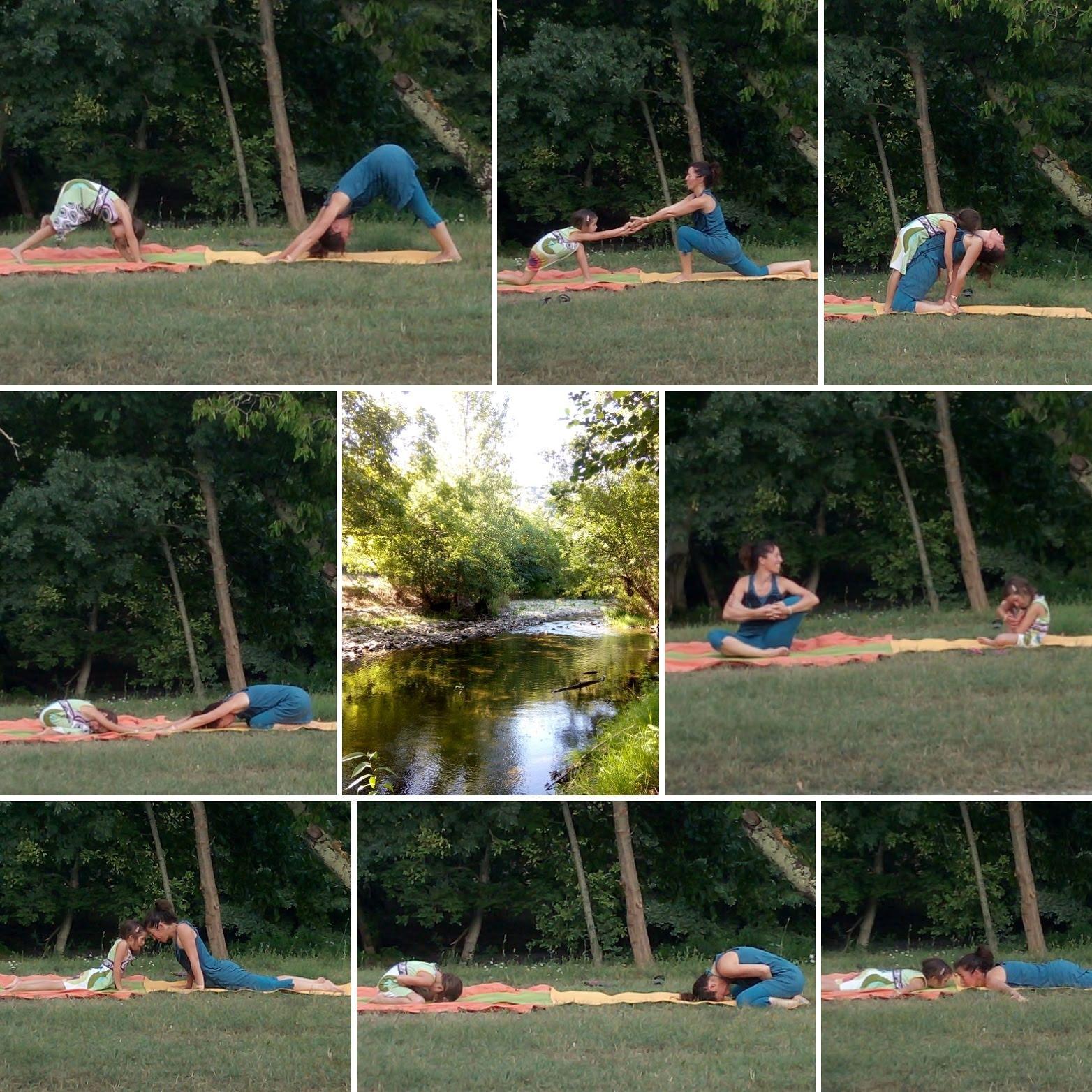 Séance de yoga en pleine nature : mère et fille